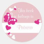 Corazones y etiquetas de encargo del Bookplate de  Pegatina Redonda