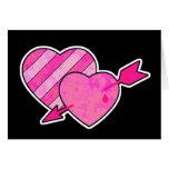 corazones y flecha del grunge tarjetas