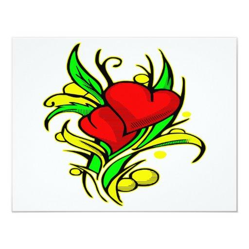 Corazones y flores bonitos #0044 invitación 10,8 x 13,9 cm