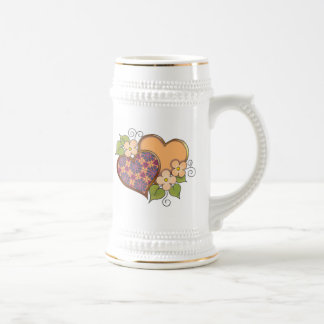 Corazones y flores - colores tropicales taza de café