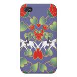 Corazones y flores del Dressage iPhone 4 Carcasas