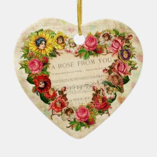 Corazones y flores del vintage adorno de cerámica en forma de corazón