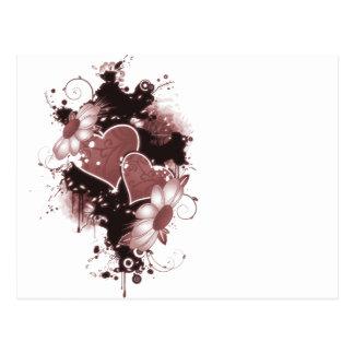 Corazones y flores dobles - rojo tarjeta postal