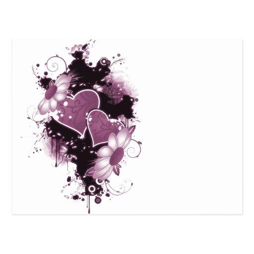 Corazones y flores dobles - rosa postal
