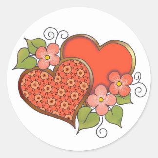 Corazones y flores - estrellas del rojo pegatina redonda