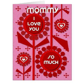 Corazones y flores felices de la mamá del el día tarjeta de felicitación grande
