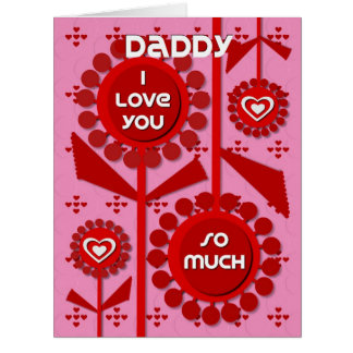 Corazones y flores felices del papá del el día de tarjeta de felicitación grande