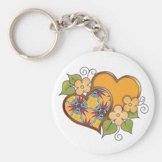 Corazones y flores - flor de la ave del paraíso llavero redondo tipo pin