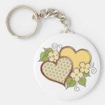 Corazones y flores - puntos amarillos de la flor llaveros