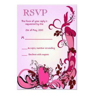 Corazones y flores rosados que casan RSVP Invitación 8,9 X 12,7 Cm