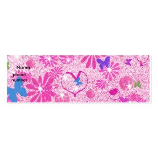 Corazones y flores rosados tarjetas de visita mini