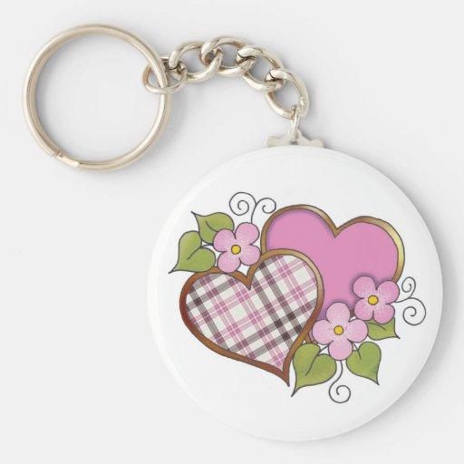 Corazones y flores - tela escocesa gris rosada llavero redondo tipo pin