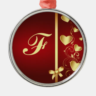 Corazones y Flourishes cones monograma del amor Adorno Redondo Plateado