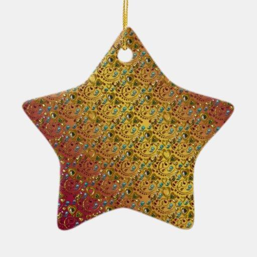 Corazones y gemas adornados adorno de cerámica en forma de estrella