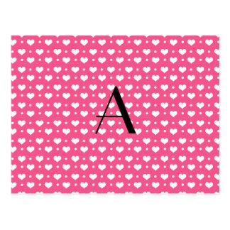 Corazones y lunares rosados del monograma postal