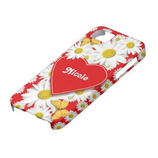 Corazones y margaritas del amor iPhone 5 funda