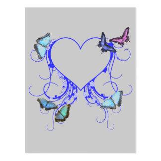 Corazones y mariposas postales