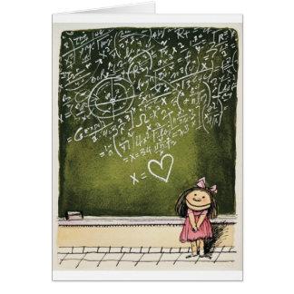 Corazones y matemáticas tarjeta de felicitación