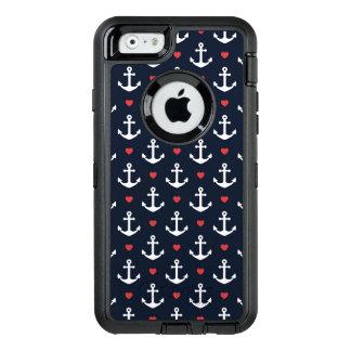 Corazones y modelo de las anclas funda OtterBox defender para iPhone 6