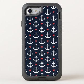 Corazones y modelo de las anclas funda OtterBox defender para iPhone 7