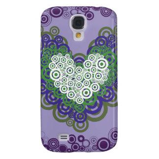 Corazones y modelo verdes púrpuras bonitos de los  funda para galaxy s4