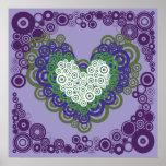 Corazones y modelo verdes púrpuras bonitos de los  impresiones