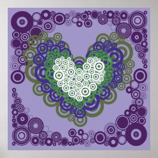 Corazones y modelo verdes púrpuras bonitos de los  póster