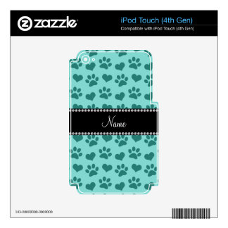 Corazones y patas conocidos personalizados del calcomanía para iPod touch 4G