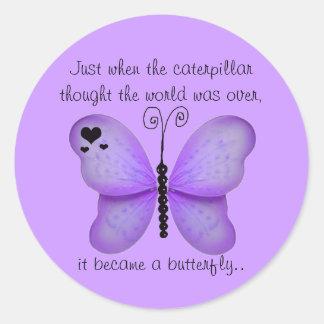 Corazones y pegatinas púrpuras de la cita de la ma