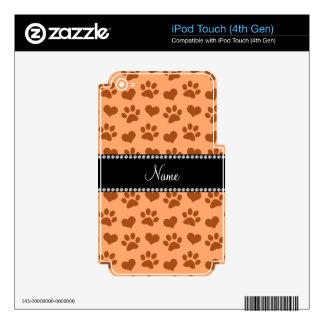 Corazones y pri anaranjados en colores pastel iPod touch 4G skin