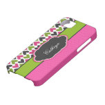 Corazones y puntos rosados, verdes, negros iPhone 5 Case-Mate carcasas
