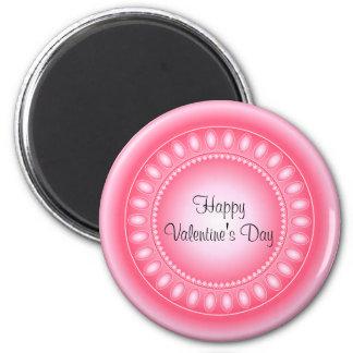 Corazones y puntos rosados y blancos imán redondo 5 cm