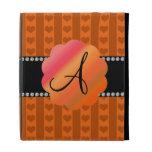 Corazones y rayas anaranjados del monograma