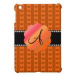 Corazones y rayas anaranjados del monograma iPad mini funda