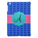 Corazones y rayas azules del monograma iPad mini coberturas