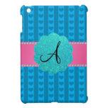Corazones y rayas azules del monograma iPad mini funda