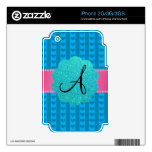 Corazones y rayas azules del monograma skins para eliPhone 3