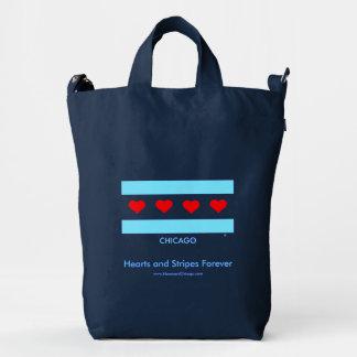 Corazones y rayas del bolso de la bandera del bolsa de lona duck