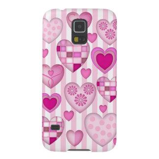 Corazones y rayas rosados románticos