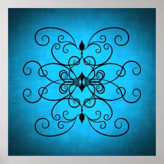 Corazones y remolinos negros y azules póster