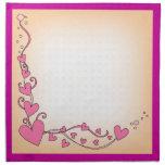 Corazones y rizos rosados servilleta imprimida