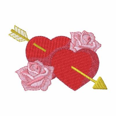 Corazones y rosas polo bordado