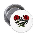 Corazones y rosas de la cebra pin