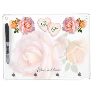 Corazones y rosas pizarras blancas