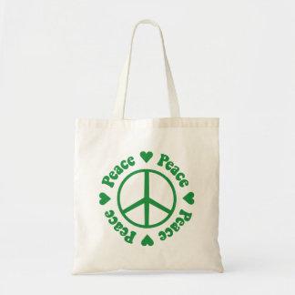 Corazones y signo de la paz verdes