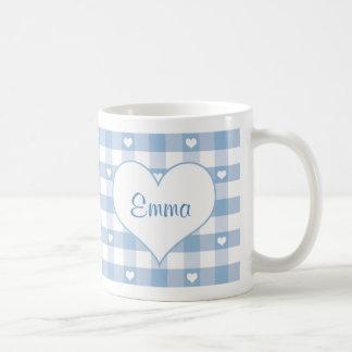 Corazones y taza en colores pastel azul de la guin