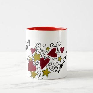 Corazones y taza feliz del el día de San Valentín