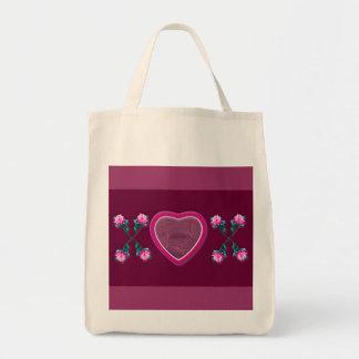 Corazones y x de los rosas y marco de la foto del bolsa tela para la compra