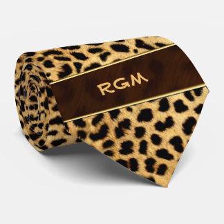 Corbata con monograma de la impresión del guepardo