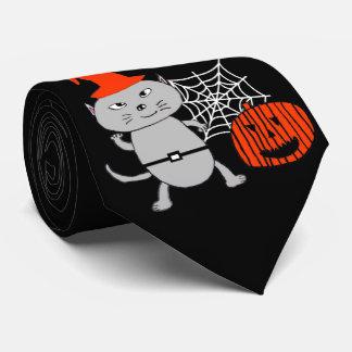 Corbata del negro del gato de Halloween